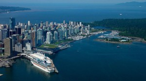 Vancouver Downtown Harbour and Stanley Park Aerial View